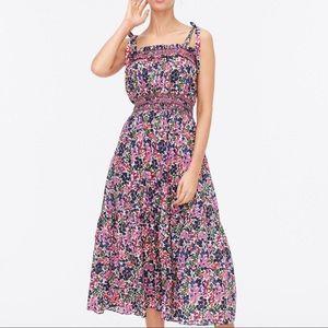 New J Crew Smocked Midi Dress In Watermark Floral